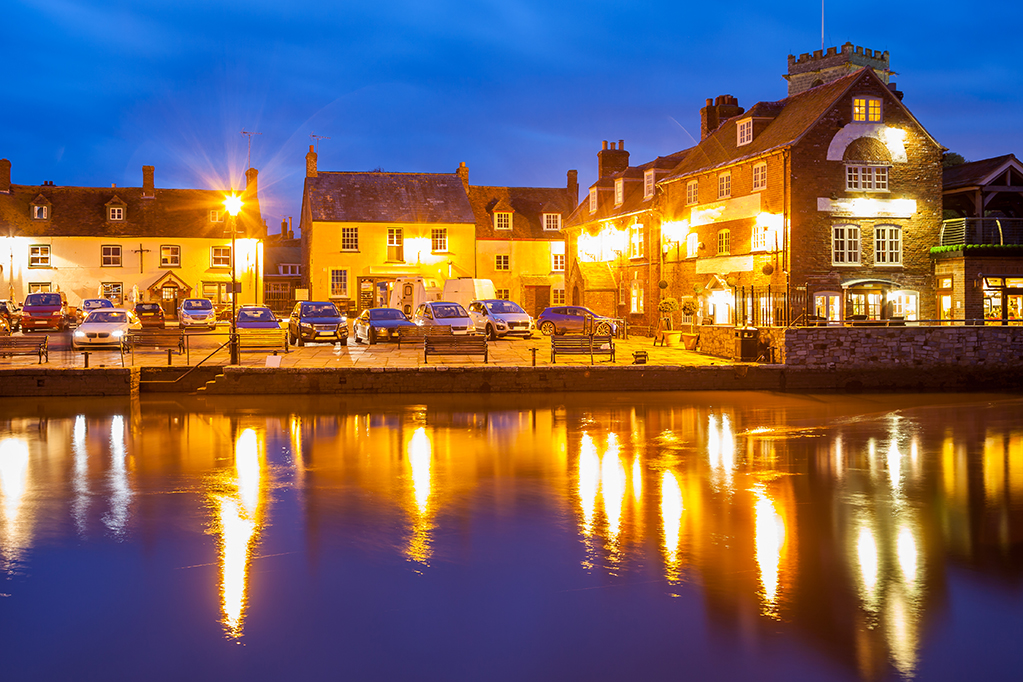 River Frome at night photographed from Wareham Quay Dorset England  UK Europe