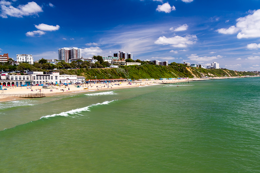 Overlooking Bournemouth Beach photographed from the Pier  Dorset England UK Europe